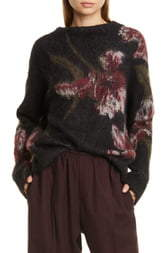 Vince Floral Funnel Neck Brushed Mohair Blend Sweater