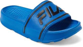 Fila Toddler/Kids Boys) Blue & Black Sleek Slide Sandals