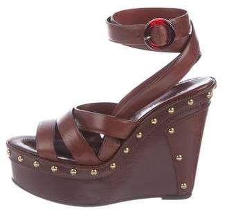 Barbara Bui Leather Studded Wedges