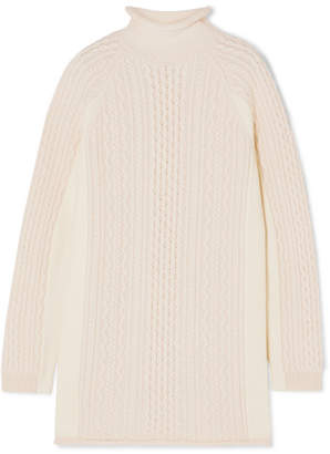 Chloé Cable-knit Wool And Alpaca-blend Turtleneck Sweater - Ivory