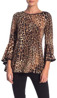 COCO BIANCO Leopard Print Cascading Bell Sleeve Top