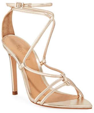 Schutz Evellyn Strappy Metallic Leather Sandals
