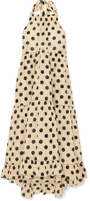 Lee Mathews Minnie Polka-dot Silk And Cotton-blend Halterneck Dress