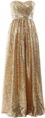 MACloth Women Strapless Sequin Long Bridesmaid Dress Formal Party Evening Gown
