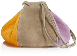 Creatures of Comfort Puff Color-Block Suede Drawstring Shoulder Bag