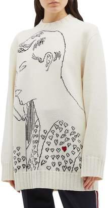 Calvin Klein Portrait jacquard oversized wool sweater