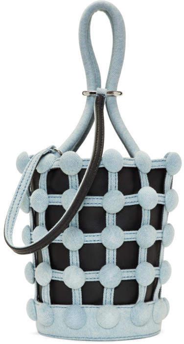 Alexander Wang Black and Blue Denim Mini Roxy Cage Bucket Bag