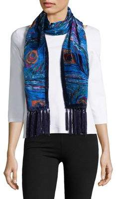 Collection 18 Peacock-Print Velvet Scarf