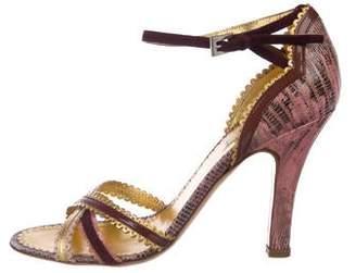 Prada Lizard Ankle Strap Sandals