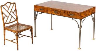 One Kings Lane Vintage Italian Campaign Burlwood Desk & Chair - Von Meyer Ltd.