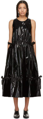Sara Lanzi Black Vinyl Ribbon Long Dress