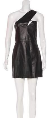 Mason Leather One-Shoulder Dress