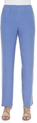 Go Silk Solid Silk Pants, Blue, Plus Size $208 thestylecure.com