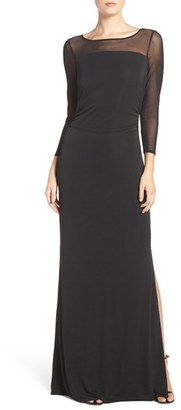 Laundry by Shelli Segal Mesh & Jersey Gown $245 thestylecure.com
