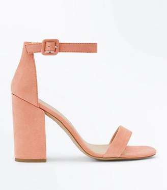 New Look Coral Suedette Barely There Block Heels