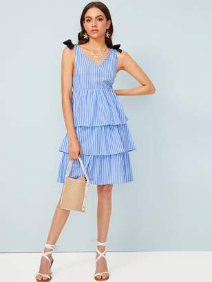 Shein Striped V Back Layered Hem Dress