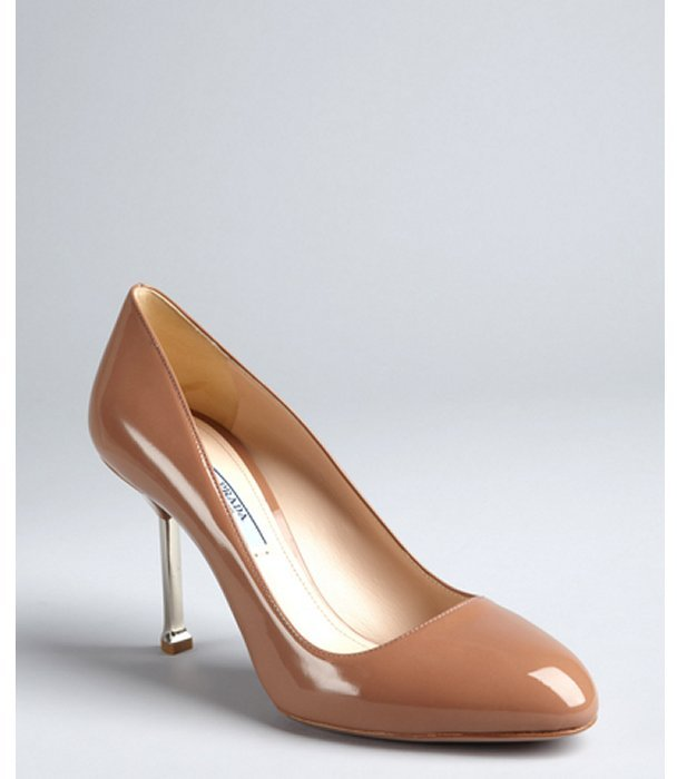 Prada cocoa patent leather silver heel pumps