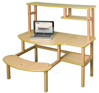 Wild Zoo Pre-School Buddy Computer Desk with Optional Hutch and Printer Stand - Maple