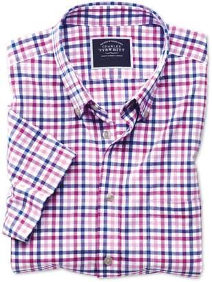 Charles Tyrwhitt Classic Fit Poplin Short Sleeve Pink Multi Gingham Cotton Casual Shirt Single Cuff Size Large