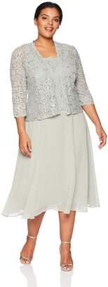 Alex Evenings Women's Plus-Size Two-Piece Tea Length Mock Jacket Dress