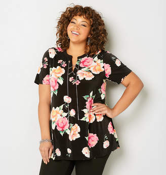 Avenue Chain Lace-Up Floral Tunic