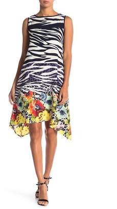 Robbie Bee Sleeveless Floral Zebra Print Midi Dress