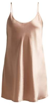 La Perla Semplice Scoop Neck Silk Satin Slip - Womens - Light Pink