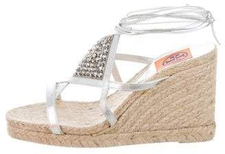Tory Burch Embellished Leather Espadrilles