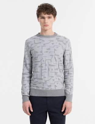 Calvin Klein slim fit texured jacquard crewneck sweater