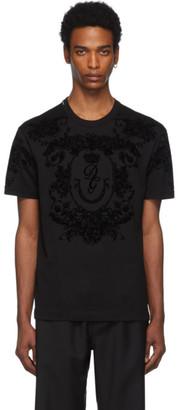 Dolce & Gabbana Black Logo Flocked T-Shirt