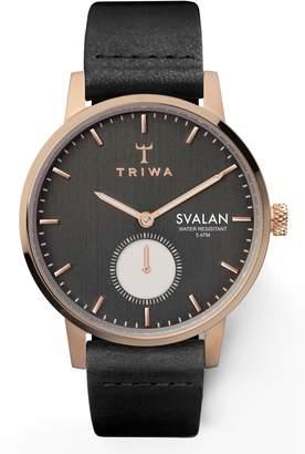 Triwa Noir Svalan Leather Strap Watch, 34mm