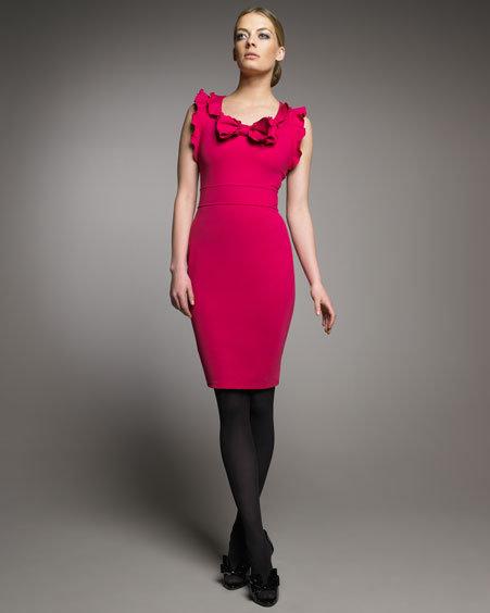 RED Valentino Jersey Ruffle-Trim Dress,Dress, Fuchsia