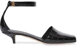 Burberry crocodile-effect square toe sandals