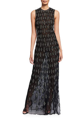 J. Mendel Silk Diamond-Embroidered Sleeveless Gown