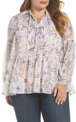 Lucky Brand Floral Print Peasant Top (Plus Size)