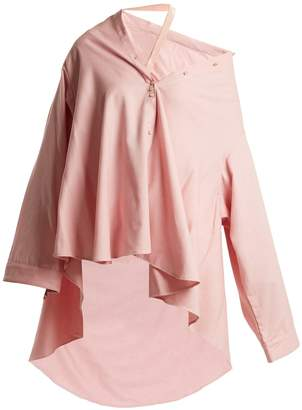 Palmer Harding PALMER/HARDING Off-the-shoulder waterfall-hem cotton-blend shirt