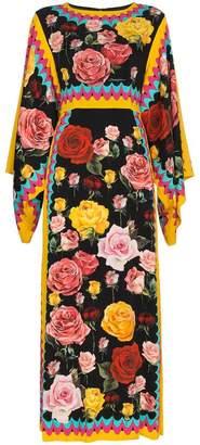 Dolce & Gabbana Silk Rose Print Kimono Dress