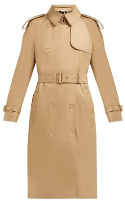 Burberry Double Breasted Cotton Gabardine Trench Coat - Womens - Beige