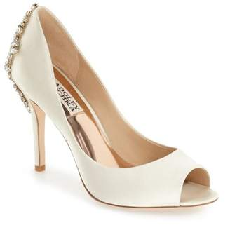 Badgley Mischka Nilla Satin Crystal Embellished Peep Toe Pump - Wide Width Available