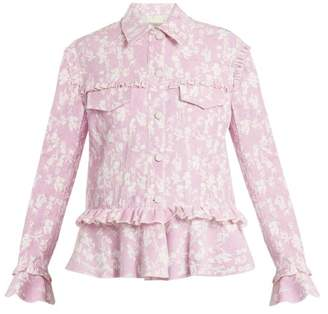 Preen Line Teagan Peplum Hem Floral Print Jacket - Womens - Light Pink
