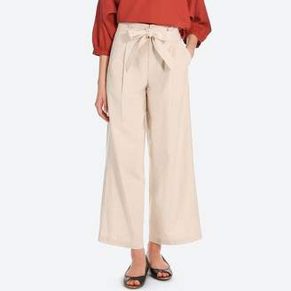 Uniqlo WOMEN Belted Linen Cotton Wide Pants