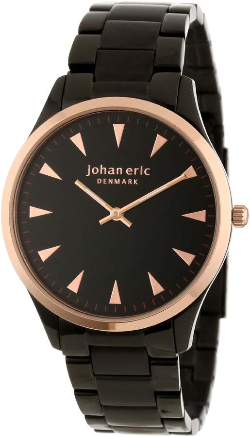 Johan Eric Men's JE9000-10-007B Helsingor Black and Rose Gold Ion-Plated Steel Bracelet Watch