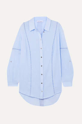 Heidi Klein Azores Crochet-trimmed Cotton-crepon Shirt - Light blue