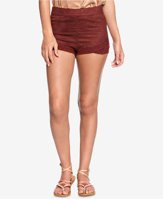 Roxy Juniors' Faux-Suede Embroidered Shorts