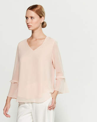 Calvin Klein Blush V-Neck Bell Sleeve Blouse