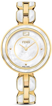 Fendi My Way Yellow Gold Tone Stainless Steel Watch with Fox Fur Glamy, 36mm $1,995 thestylecure.com