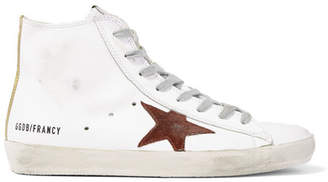 Golden Goose Francy Distressed Leather And Suede High-top Sneakers