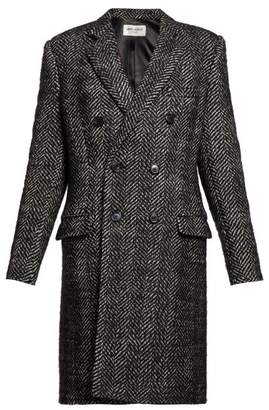 Saint Laurent Double Breasted Wool Blend Herringbone Coat - Womens - Black