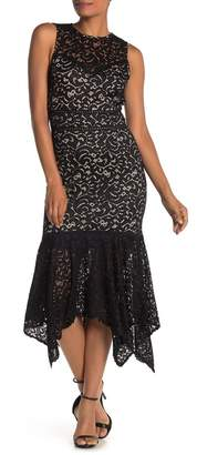 ONE ONE SIX Sleeveless Lace Handkerchief Hem Midi Dress