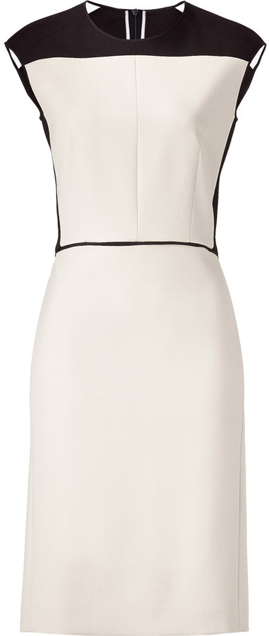 Narciso Rodriguez Cream/Black Shift Dress with Color Block Back